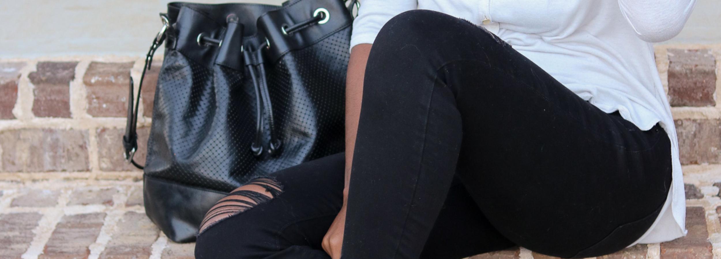 Distressed Denim + Snakeskin Ankle Boots