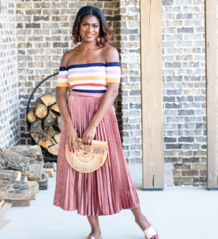 OTS Striped Top and Metallic Pleated Skirt